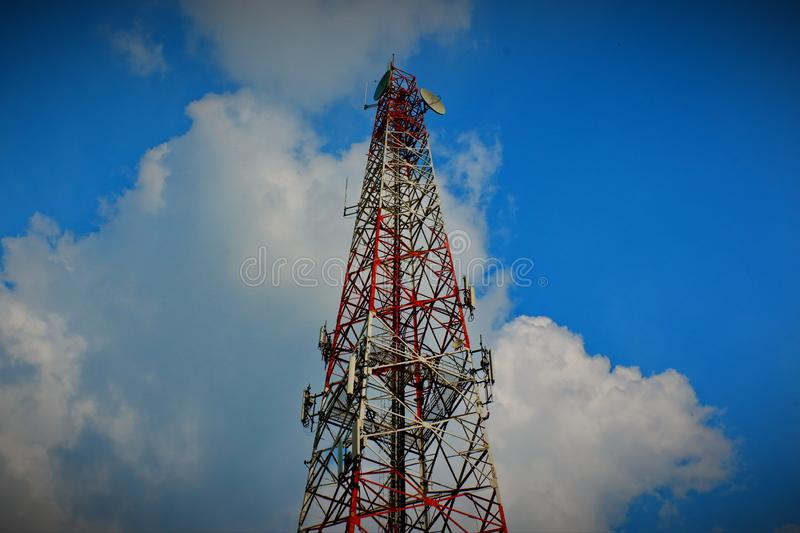 The high pole that is used to send the phone signal. royalty free stock images