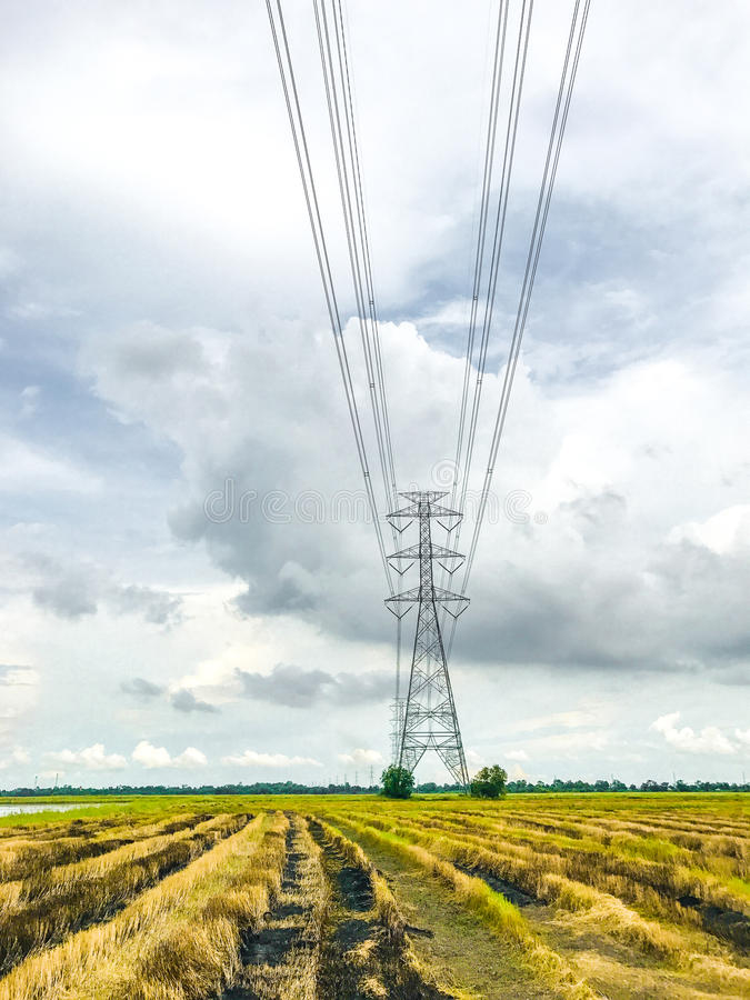 High power pylons and natural green with clear skies. royalty free stock photos