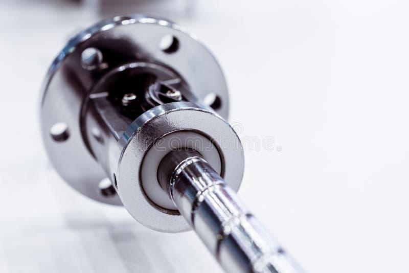 High precision ball-screw linear actuator for CNC machine. Close-up photo stock photo