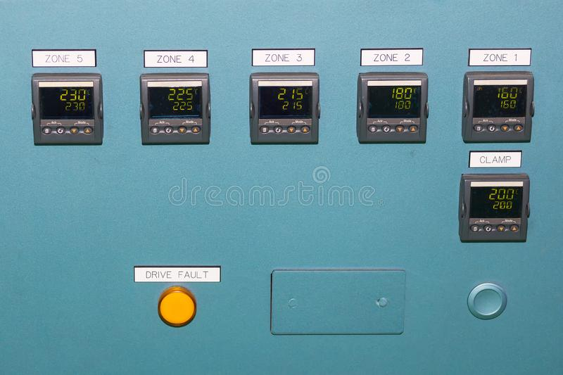 High precision of many temperature control device display on control panel for industrial royalty free stock photography