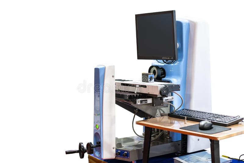 High precision optical inspection machine for measuring dimension shape appearance of manufacturing process or prepare endmill. Carbide drill bits cutting tools stock image