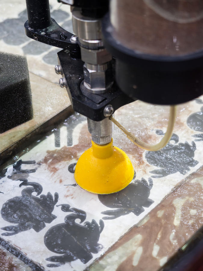 high precision waterjet cutting high accuracy parts of automotive aerospace and mechanical parts stock images