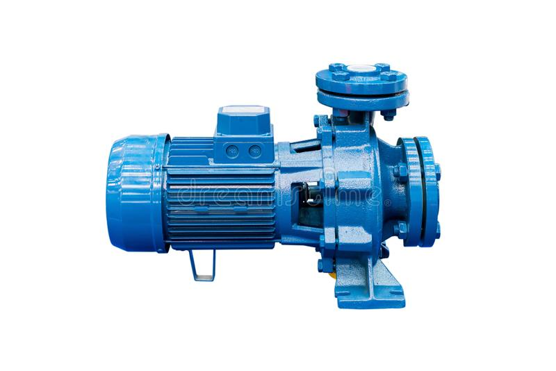 High pressure Centrifugal blue pump include motor isolated on white background with clipping path.  royalty free stock photo