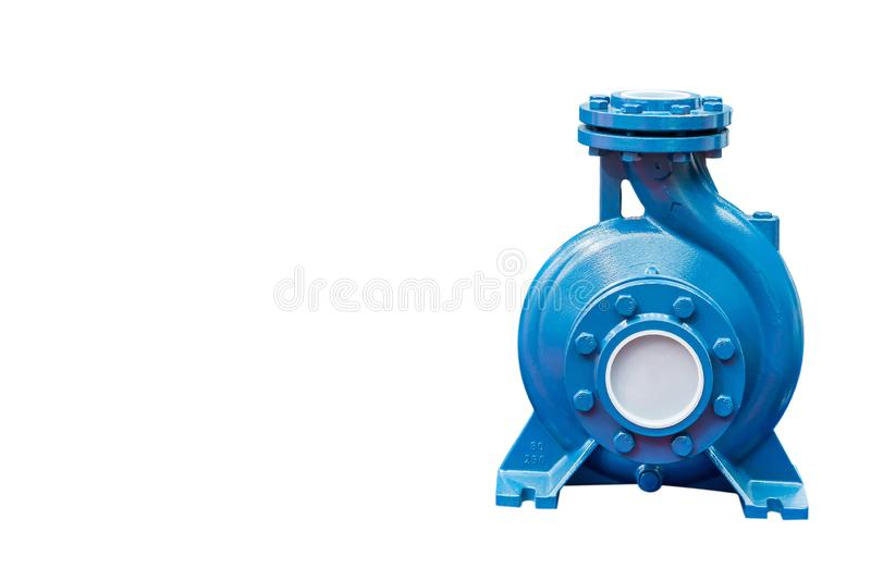 High pressure Centrifugal blue pump include motor isolated on white background with copy space and clipping path.  stock photography