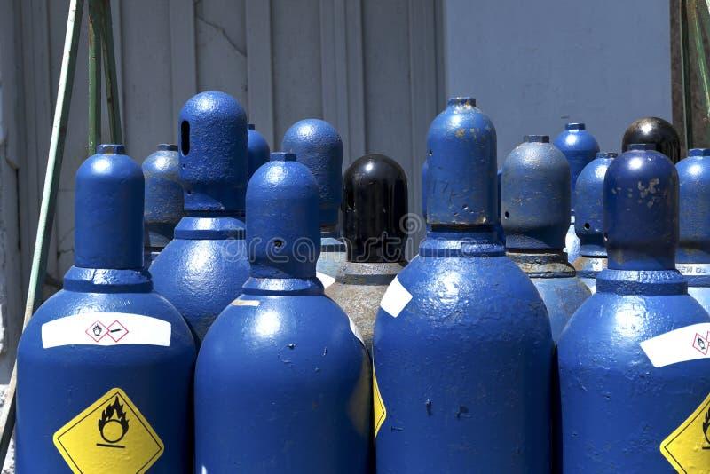 High pressure oxygen storage tanks. High pressure oxygen or hydrogen storage tanks stock photo