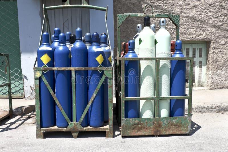 High pressure oxygen storage tanks. High pressure oxygen or hydrogen storage tanks royalty free stock photo