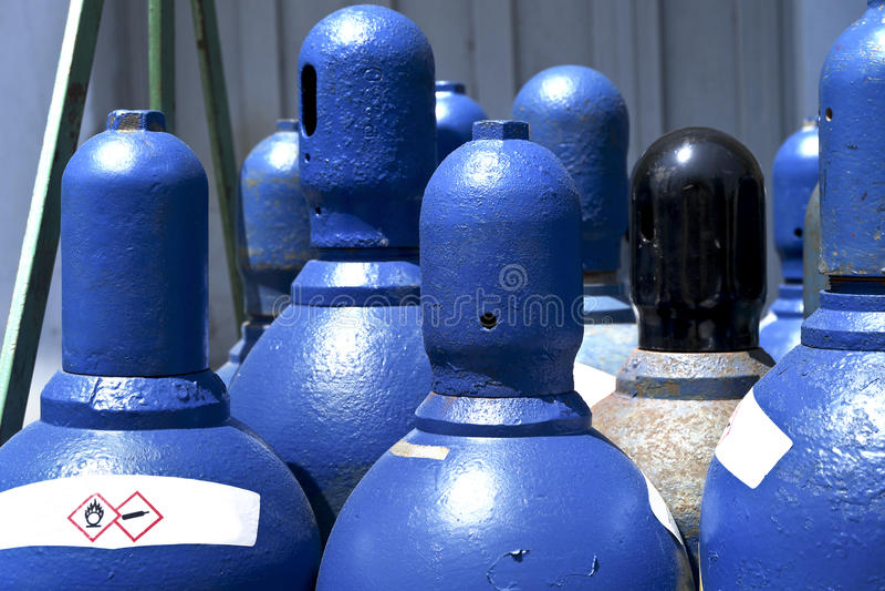 High pressure oxygen storage tanks. High pressure oxygen or hydrogen storage tanks close up stock image