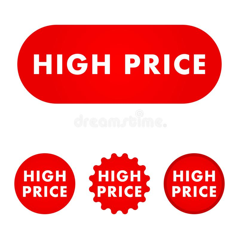 High price button. Red color sign. Vector illustration royalty free illustration