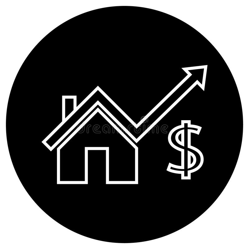 High price house. Simple flat high price house icon vector stock illustration