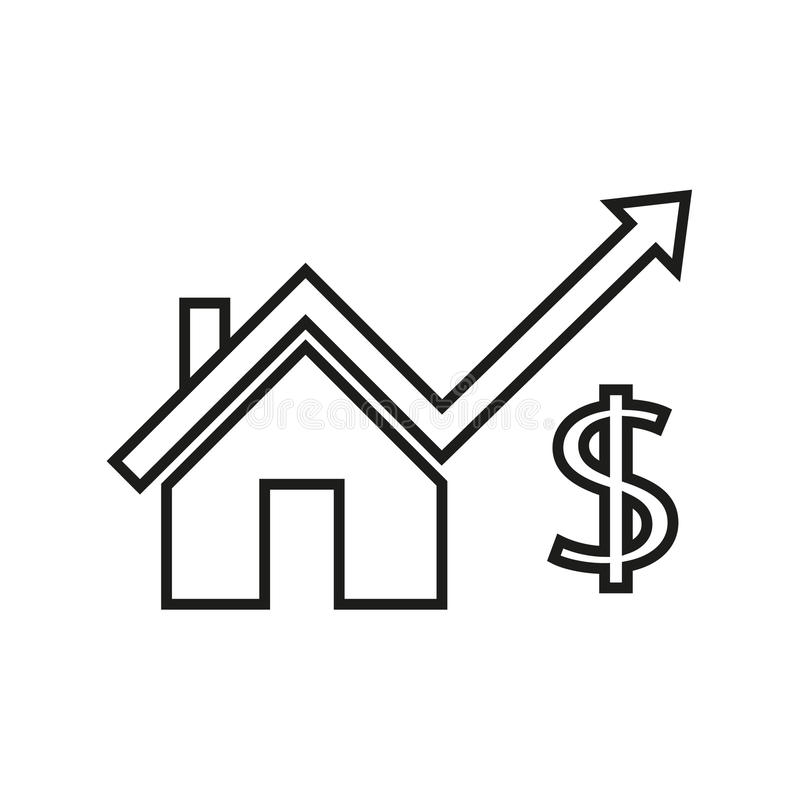 High price house. Simple flat high price house icon vector royalty free illustration