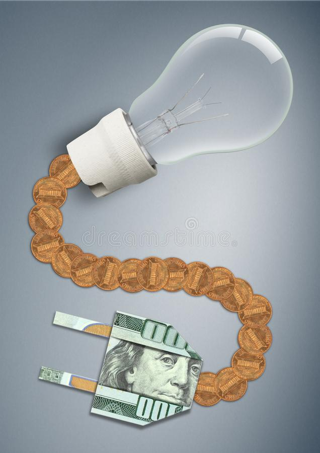 High price and tariff for electricity concept, light bulb with money cable and plug. High price and tariff for electricity concept, bulb with money cable and vector illustration