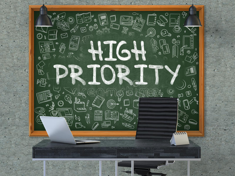 High Priority on Chalkboard with Doodle Icons. 3D. stock photo