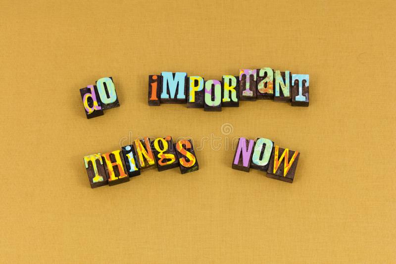 High priority important start today typography royalty free stock images