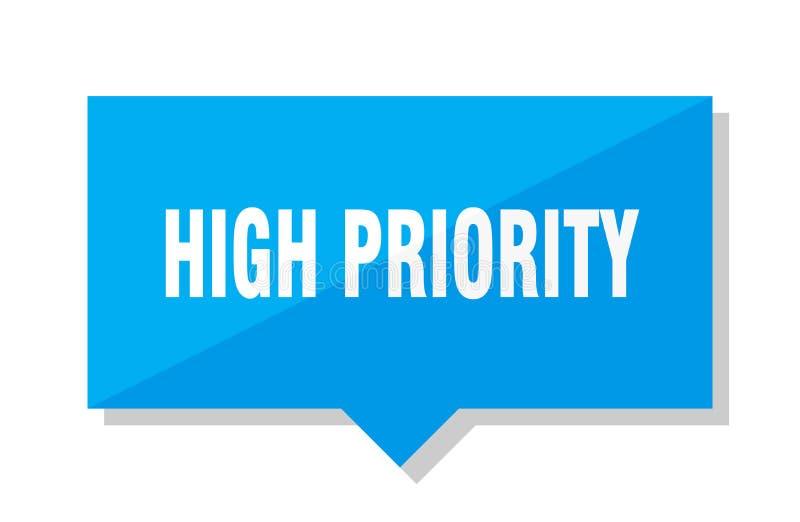 High priority price tag. High priority blue square price tag stock illustration