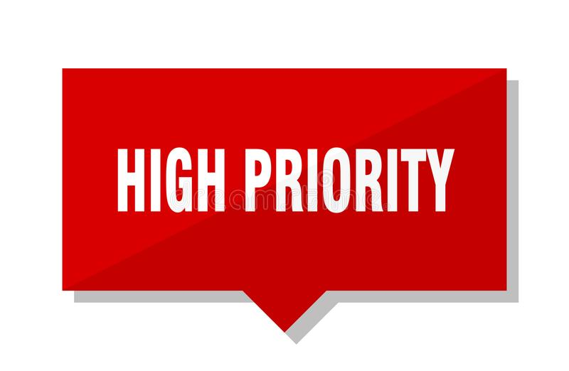 High priority price tag. High priority red square price tag royalty free illustration