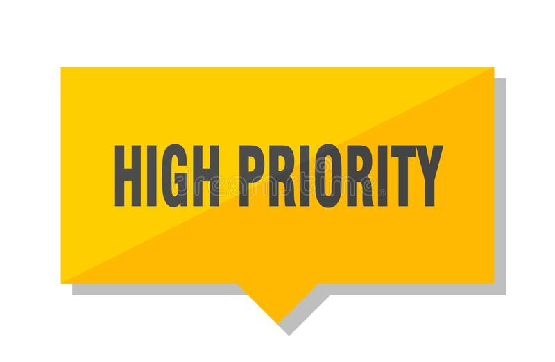 High priority price tag. High priority yellow square price tag stock illustration