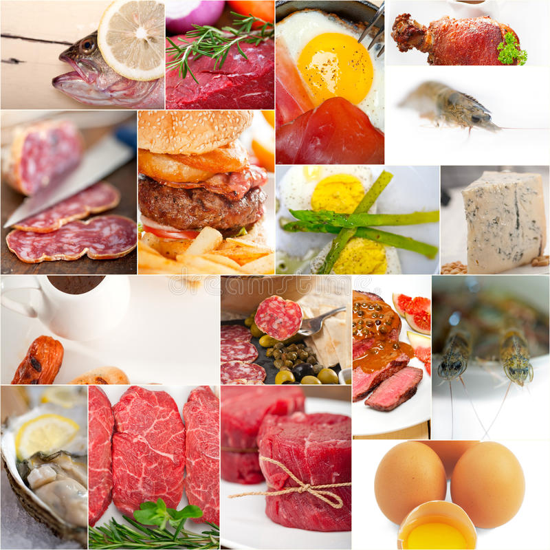 High protein food collection collage royalty free stock photography