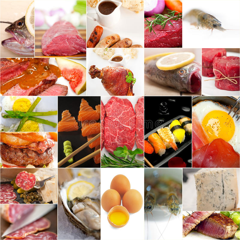 High protein food collection collage stock photography