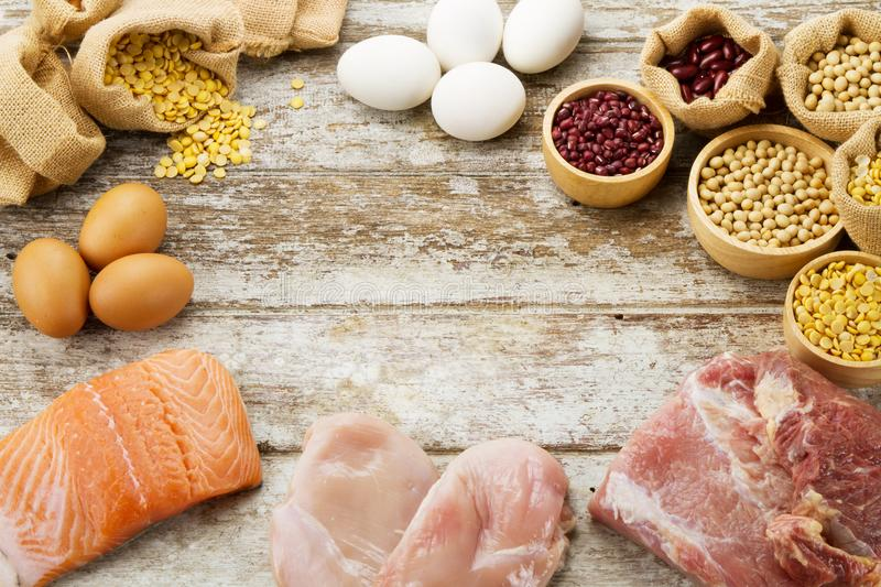 High protein and healthy food of plant and meat royalty free stock photo