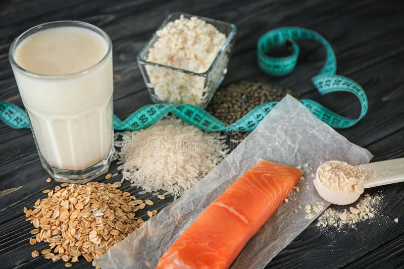 High protein food and powder stock photography