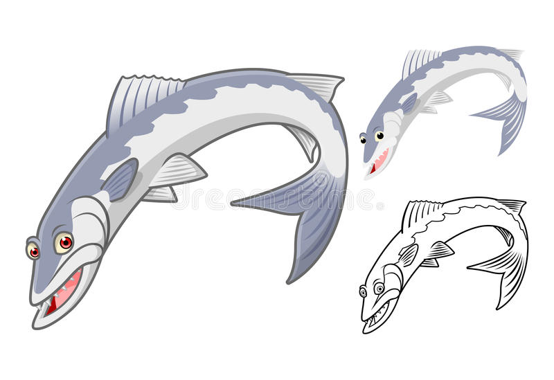 High Quality Barracuda Cartoon Character Include Flat Design and Line Art Version royalty free stock images