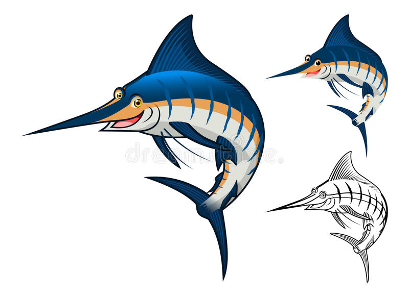 High Quality Blue Marlin Cartoon Character Include Flat Design and Line Art Version royalty free illustration