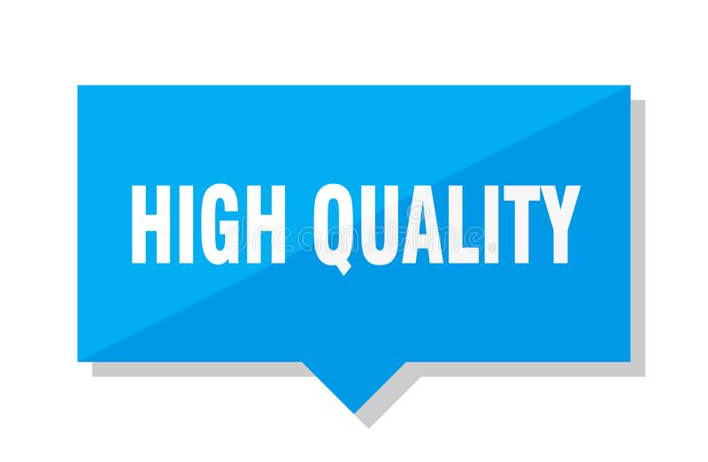 High quality price tag. High quality blue square price tag vector illustration