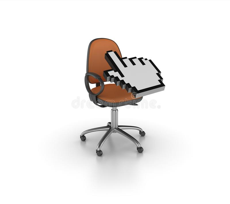 Office Chair with Computer Hand Cursor. High Quality 3D Rendering of Chair with Computer Hand Cursor on White Background vector illustration
