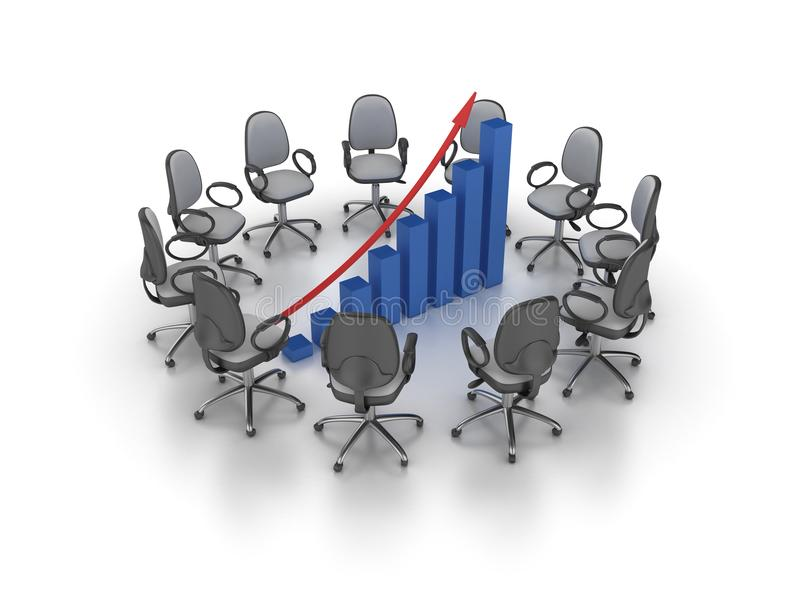 Office Chairs Meeting with Growth Chart Graph stock illustration