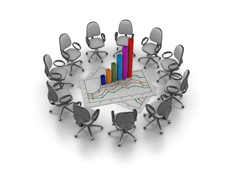 Office Chairs Meeting with Office Chairs Meeting with Growth Chart Graph vector illustration