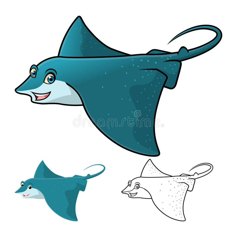 High Quality Eagle Ray Cartoon Character Include Flat Design and Line Art Version royalty free stock images