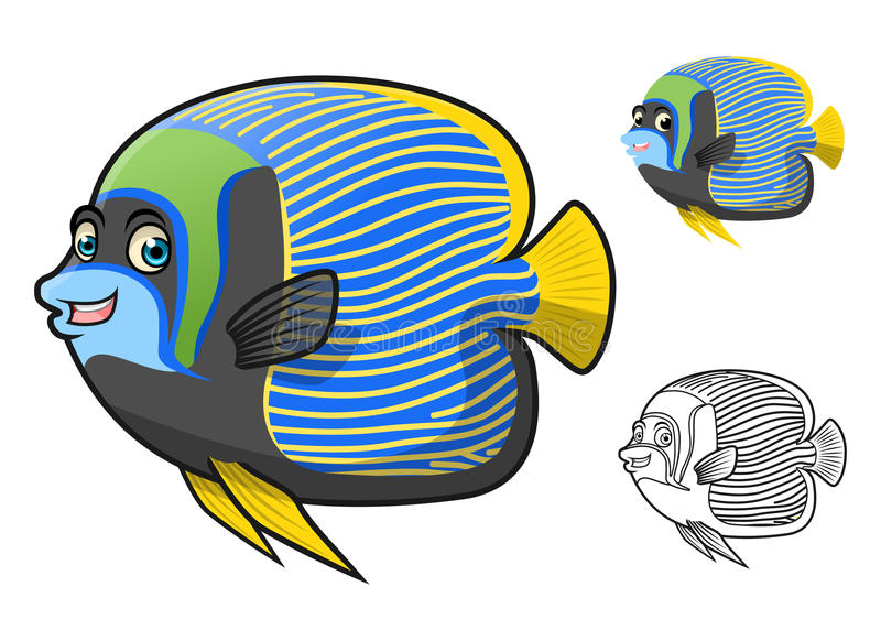 High Quality Emperor Angel Fish Cartoon Character Include Flat Design and Line Art Version royalty free stock photography