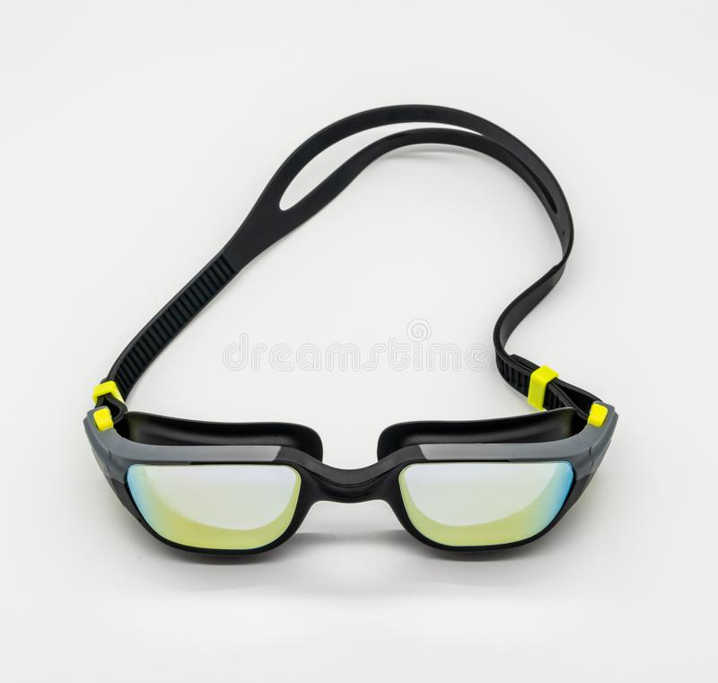 High quality fashion mercury coated swimming goggle in black, grey and green isolated on white royalty free stock photography