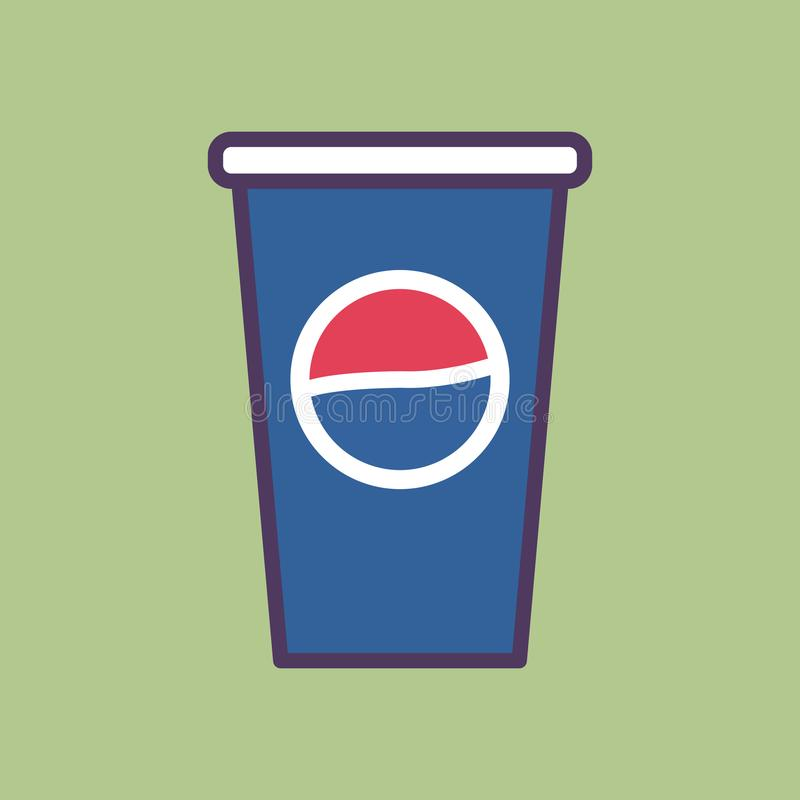 A High Quality Flat Vector Illustration Of A Pepsi Cup. With Pepsi logo on it. Desaturated flat colors was used in this illustration vector illustration