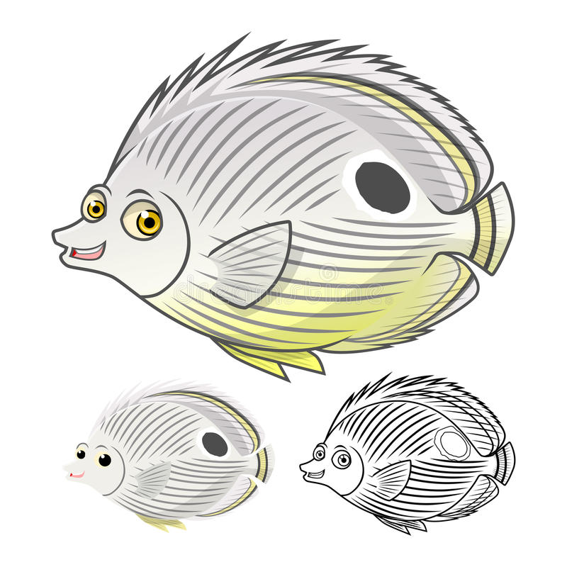 High Quality Four Eye Butterflyfish Cartoon Character Include Flat Design and Line Art Version royalty free illustration