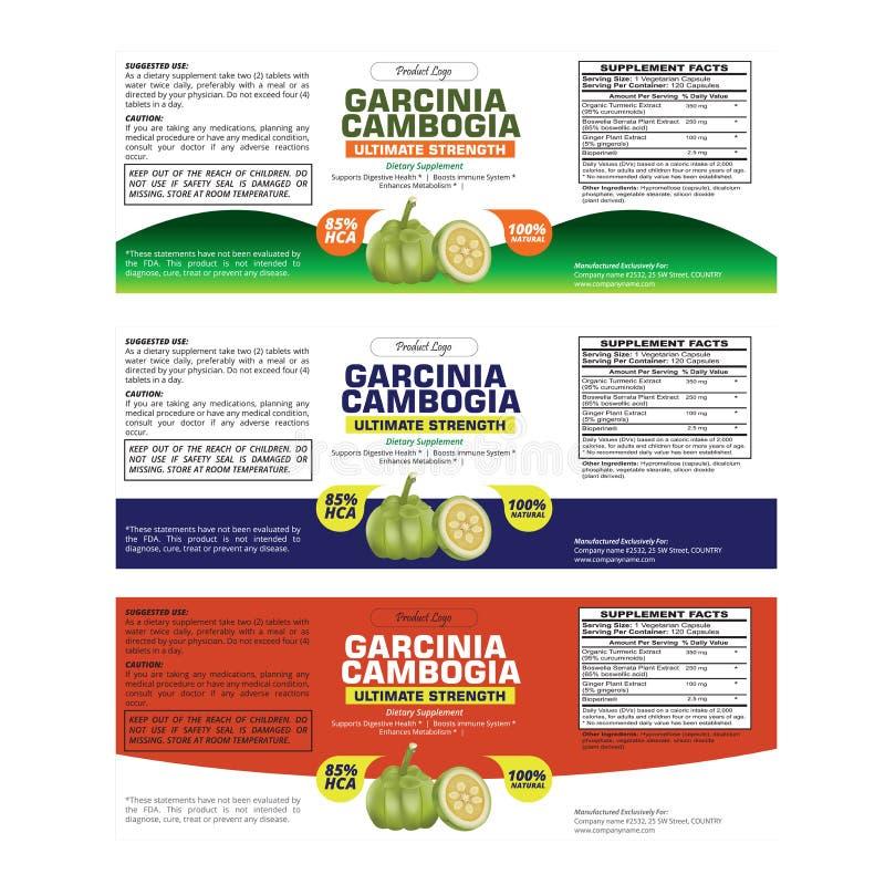 High Quality Garcinia Cambogia Label Template stock illustration