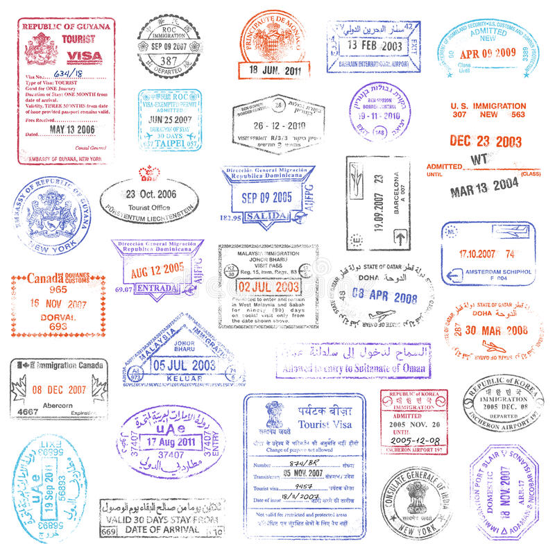 High Quality grunge Passport Stamp collection royalty free illustration