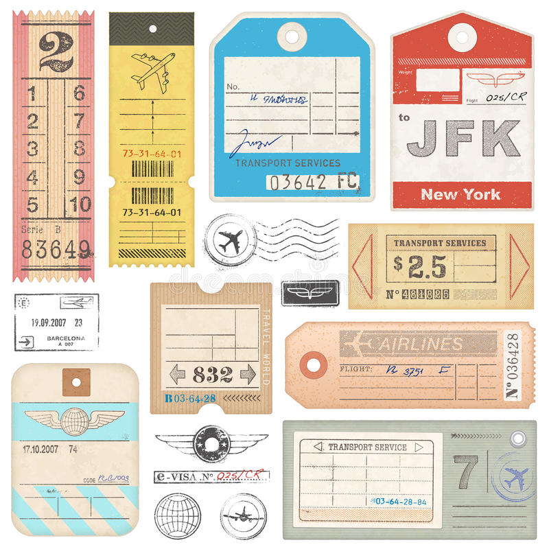 High Quality grunge Passport Tags, Tickets and stamps. A set of high detail grunge Passport Tags, Tickets and stamps vector illustration