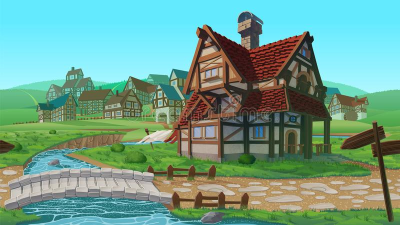 A high quality horizontal seamless background - village. Old European village. Summer background with buildings use for infographics and side-scroller games vector illustration
