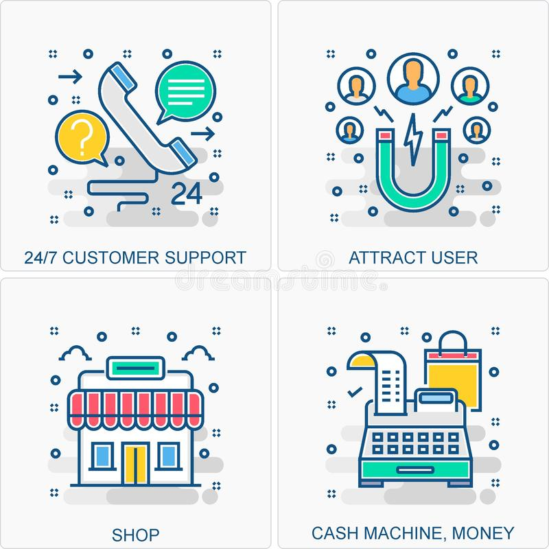 Shopping icons and concepts illustrations. These are High Quality Icon Illustration includes all Business, Finance, Promotions and other different concepts all stock illustration