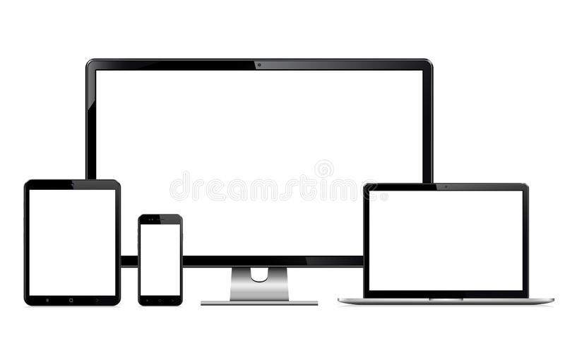 High quality illustration set of modern technology devices - computer monitor, laptop, digital tablet and mobile phone with blank. Screen. Isolated on white vector illustration
