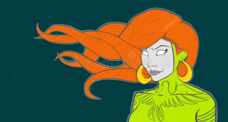 High quality illustration with redhead girl. Modern acid grunge ginger girl with tattoo in mask. Highest quality