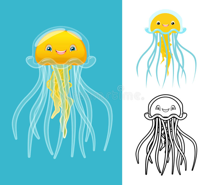 High Quality Jellyfish Cartoon Character Include Flat Design and Line Art Version royalty free illustration