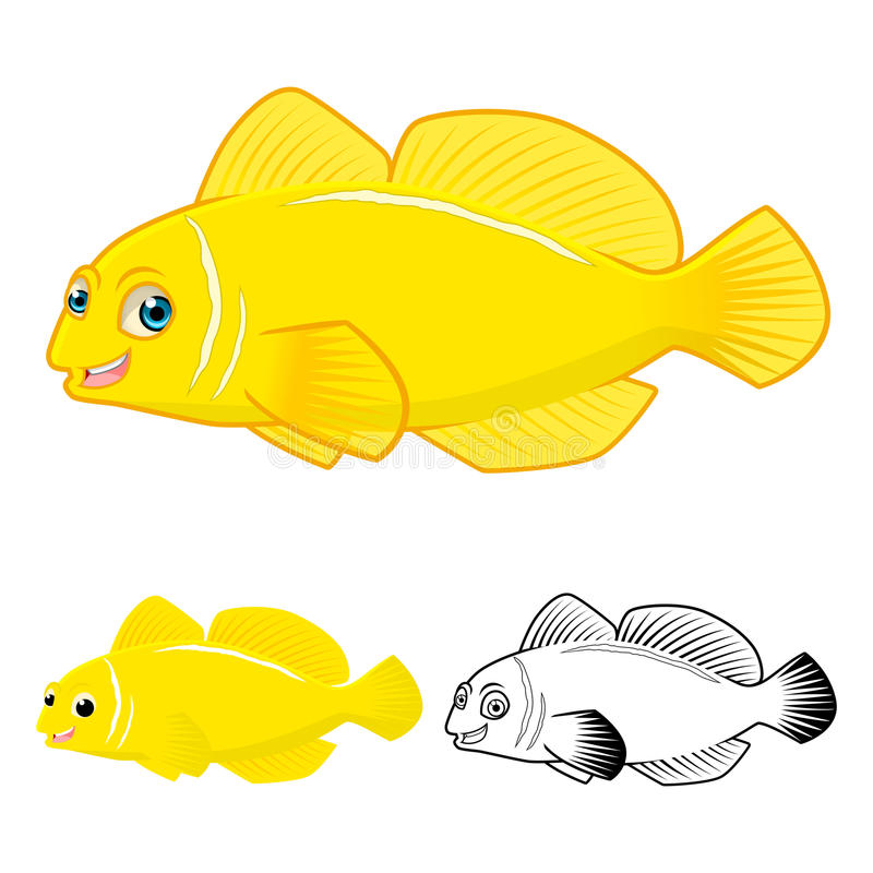 High Quality Lemon Goby Fish Cartoon Character include Flat Design and Line Art Version stock illustration