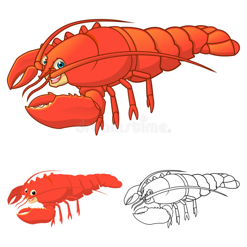 High Quality Lobster Cartoon Character Include Flat Design and Line Art Version vector illustration