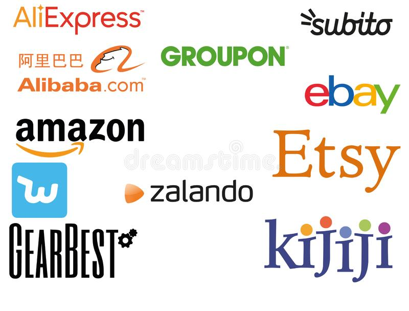 High Quality Logo Best E-commerce in the world. High quality logo collection set of online shopping sites of largest e-commerce such as AliBaba, Amazon, Etsy and royalty free illustration