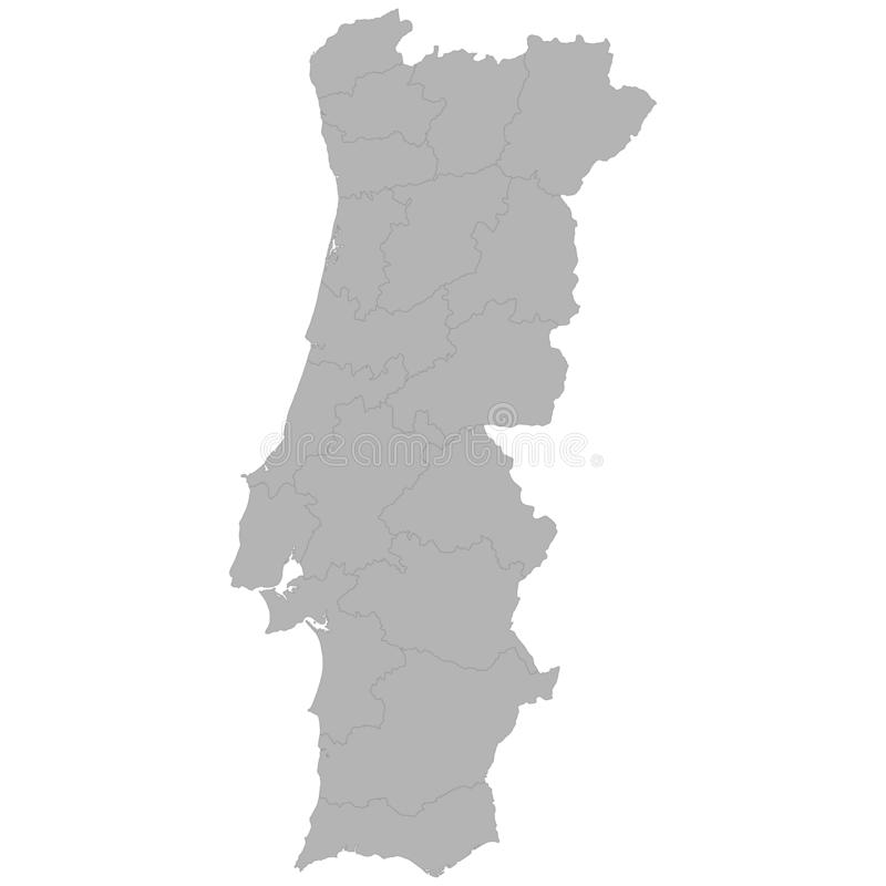 High quality map. Of Portugal with borders of the regions on white background royalty free illustration