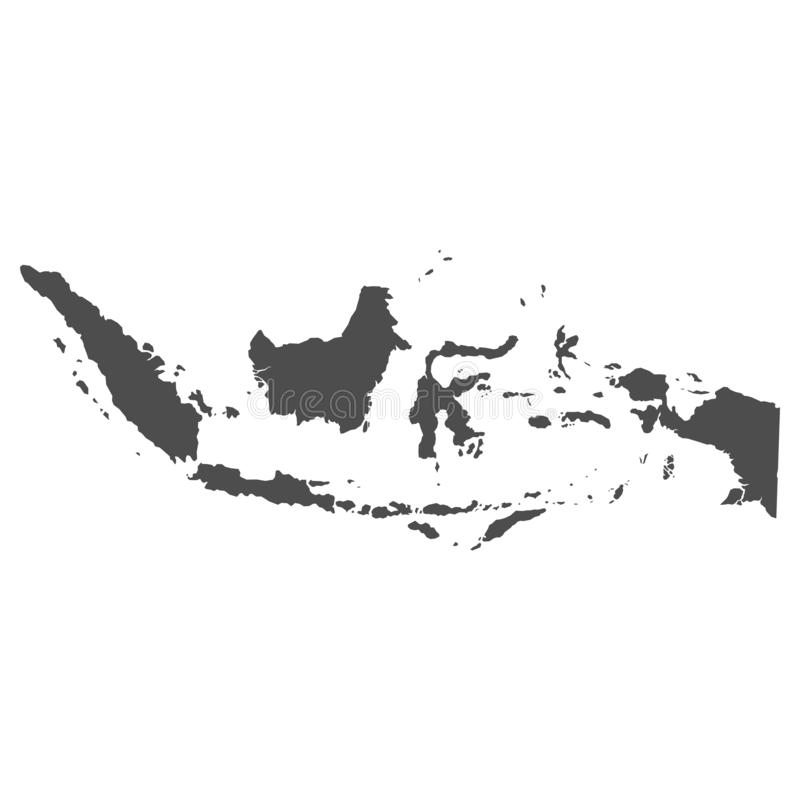 High quality map of Indonesia with borders of the regions on white background - Vector royalty free illustration