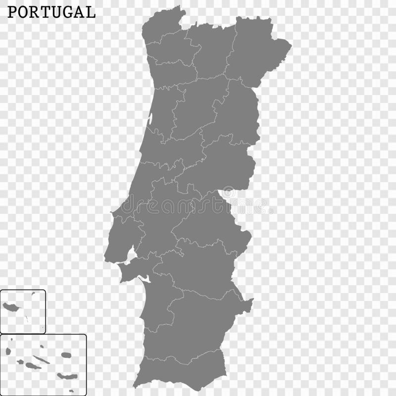 High quality map with borders. High quality map of Portugal with borders of the regions stock illustration