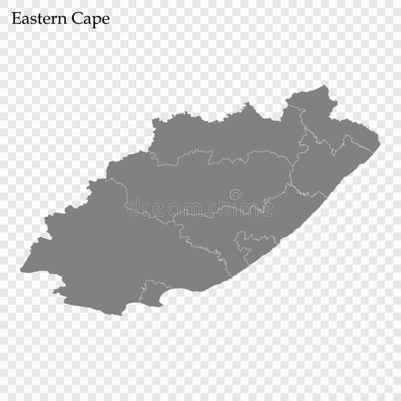 High Quality map is a province of South Africa. High Quality map of Eastern Cape is a province of South Africa, with borders of the districts royalty free illustration